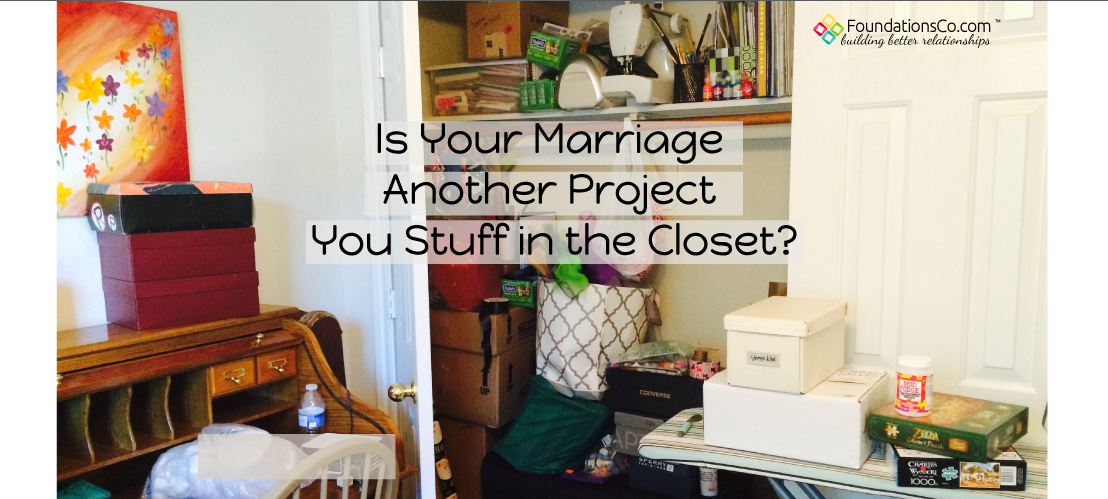 Closet of unfinished craft projects